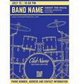 rock music concert drum set vertical music flyer vector image