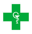 medical cross with the bowl of hygeia vector image