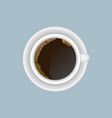 cup of hot coffee on a saucer top view vector image