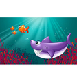 A big shark and three nemos under the sea vector image vector image