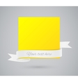 Abstract yellow card with ribbon vector image vector image