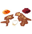 archaeological and paleontological finds cartoon vector image vector image