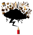 black cloud and lightning drawing red pencil vector image