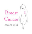 breast cancer awareness pink ribbon and female vector image