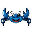 cartoon happy blue crab vector image vector image
