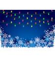 christmas lights and snowflakes vector image vector image
