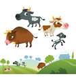 Collection of cow family vector | Price: 3 Credits (USD $3)