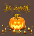 cover halloween pumpkin with a face vector image vector image
