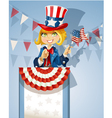 Cute blond girl in a suit of Uncle Sam stands on