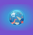 deep water life exploration bottom sea vector image