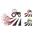 destructed pixel halftone farm field with tractor vector image vector image