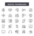 digital technology line icons signs set vector image vector image