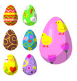 easter eggs painted with spring pattern vector image