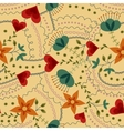 Flowers and hearts pattern retro vector image