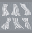 flying white curtains on transparent vector image vector image