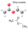 Formula and model of ethyl acetate molecule vector image vector image