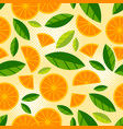 fruit seamless pattern juicy slice piece orange vector image vector image