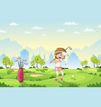 girl plays golf on a golf course vector image vector image