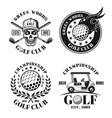 golf set four isolated vintage emblems vector image vector image