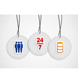 Hanging online support badges vector image vector image