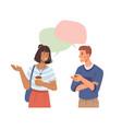 happy people talking speech bubbles over head vector image vector image