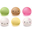 Japanese mochi rice dessert Set of sweets vector image vector image