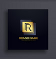 letter r premium logo design concept in gold vector image vector image