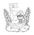 little pirate with boat in clouds vector image