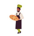male professional chef cook holding tray with vector image vector image