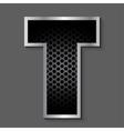 Metal grid font - letter T vector image