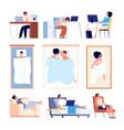 people sleeping couple sleep in bed blanket flat vector image vector image