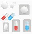 pills set tablets and capsule in blister pack vector image