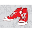 red sneakers vector image vector image
