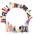 round blank frame with makeup cosmetics vector image