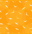 seamless pattern with gulls on yellow background vector image