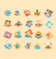 summer vacation icon set seaside holiday vector image