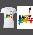 t-shirt design with pouring colors vector image vector image