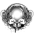 two skulls and wings vector image vector image