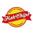 vintage fish and chips sign lettering vector image