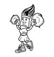 vintage monochrome brush cheerleader character vector image