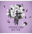 vintage monochrome floral card with violets vector image vector image