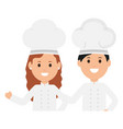young chef couple avatars characters vector image