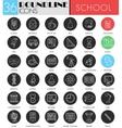School colledge circle white black icon set vector image