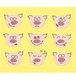 pig cute emoticon set vector image