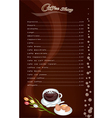 A Coffee Menu Pattern on Brown Background vector image