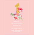 babirthday invitation card with flamingo vector image vector image