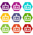 badge office icons set 9 vector image