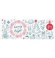 big set of christmas design doodle elements with vector image vector image