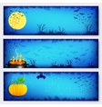 Blue Halloween banners backgrounds set vector image vector image