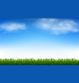 blue sky and clouds and green grass vector image